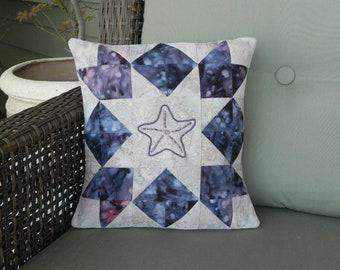 Hazy Lilac Beaded Starfish Pillow Cover