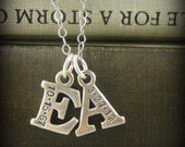 Mommy necklace Hand stamped jewelry initial charm necklace Personalized Date Sterling Silver 2 Initials w/ 2 Birthstones, I1