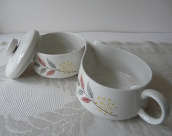 Franciscan, Springsong, Creamer and Sugar, mid century modern, floral