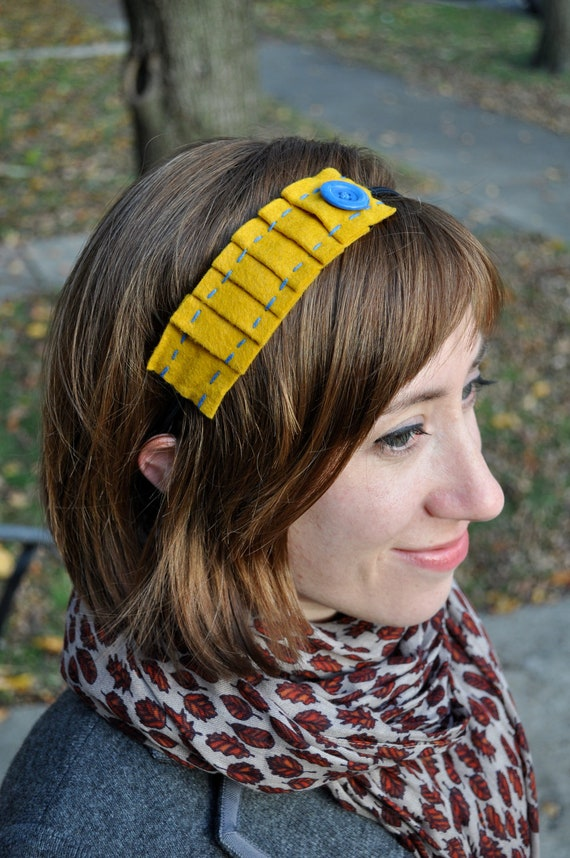 Mustard Felt & Cobalt Button Pleated Headband