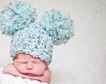Newborn Hat Newborn Baby Girl Hat Newborn Baby Boy Hat Newborn Baby Hat Pom Pom Hat Animal Ear Hat Sea Blue Brown Fun Photo Prop Cute