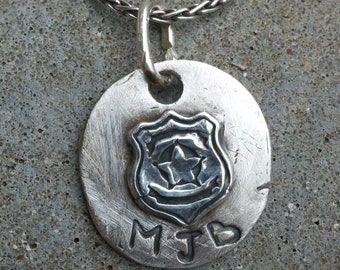 Silver Police Badge Pendant, Handmade Silver Pendant, Law Enforcement Badge Pendant