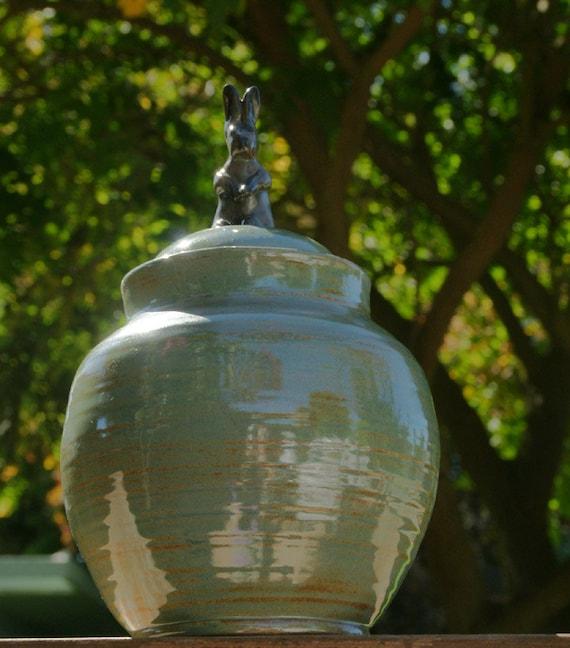 Gray Rabbit Lidded Jar, Sage Green - hand-thrown stoneware pottery