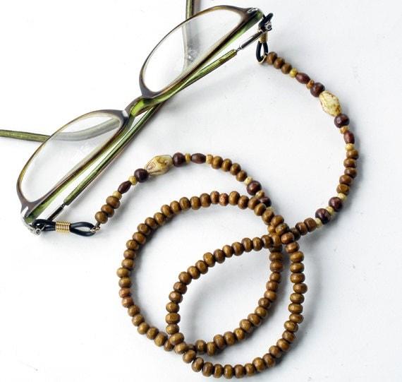 eyeglass holder beaded glasses chain wood bead lanyard
