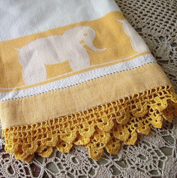 vintage golden elephant guest towel with crochet edging