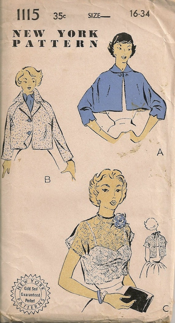 UNCUT Vintage 1950's Jacket and Bolero Pattern New York Pattern 1115