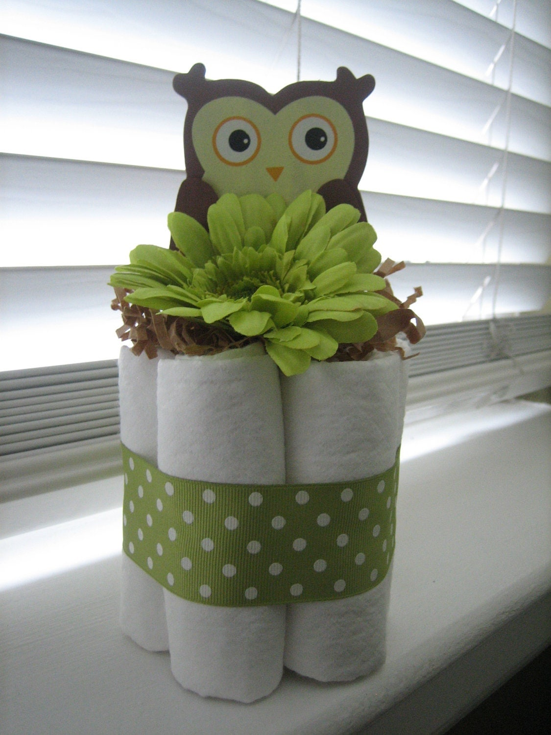 Owl mini diaper cakes for baby shower centerpiece or new