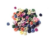 Vintage colorful buttons, plastic buttons, set of 100, destash