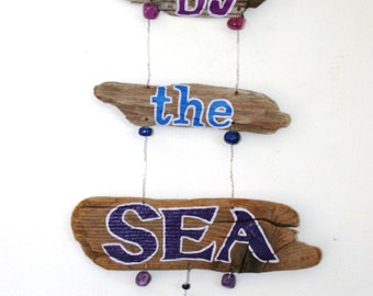 By the Sea Driftwood Art in ocean blues and purples READY TO SHIP peacelovedriftwood