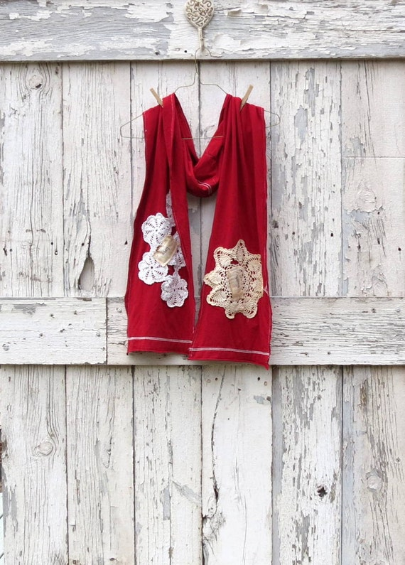 Faith, Hope, Love Piece upcycled red wrap scarf eco shawl scarf valentines gift romantic present