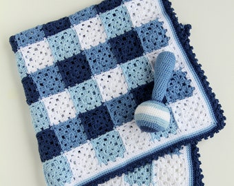 Crochet pattern baby blanket and rattle