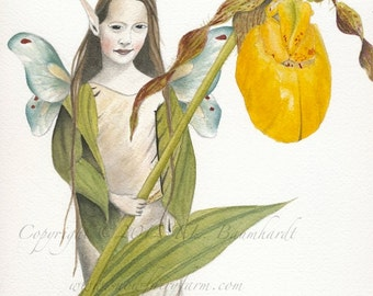 Yellow Lady's Slipper Fairy - Fairy Art Print (reproduction) - Matted 8 x 10.