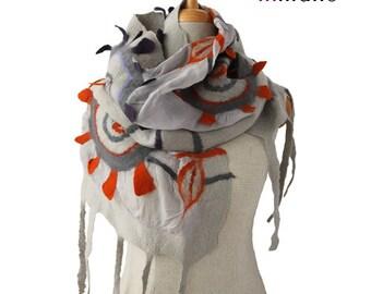 SALE!!!  fancy nuno felted scarf, the sun's rays - gray silk felt wool nuno felted eco scarf,nunofelted designer shawl, felted wool scarf