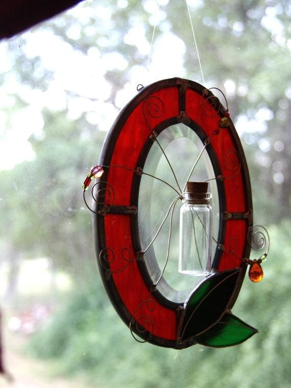 Pet Cremation Pet Memorial Pet Ashes Memorial Suncatcher Red Stained Glass Made in USA