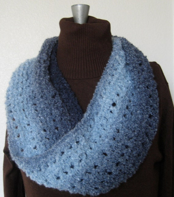 Mobius Scarf Knitting Pattern Infinity : Knit Shades of Blue Mobius Infinity Cowl Scarf by pointyneedles