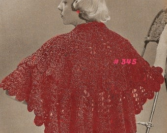 Almost FREE Vintage 1950s Fancy Lace Stole Wrap 345 PDF Digital Crochet Pattern