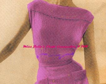 Almost FREE Vintage 1950s Vogue Sleeveless Chemise Dress with Boat Neckline, Patch Pockets & Openwork Trim 704 PDF Digital Knit Pattern