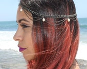 Pearl. double chain head piece in golden OR silver