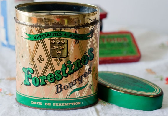 """Vintage Candy Tin """"Forestines"""" by Bourges from France 1977 Collectible Storage Decor"""