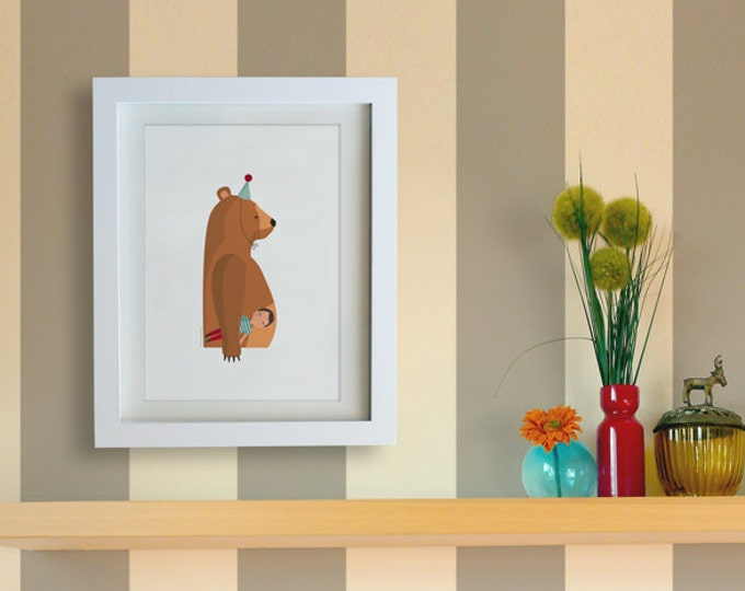 Illustration. Bear with friend.  Print. Wall art. Art decor. Hanging wall. Printed art. Decor home. Gift idea. Sweet home. Tutticonfetti.