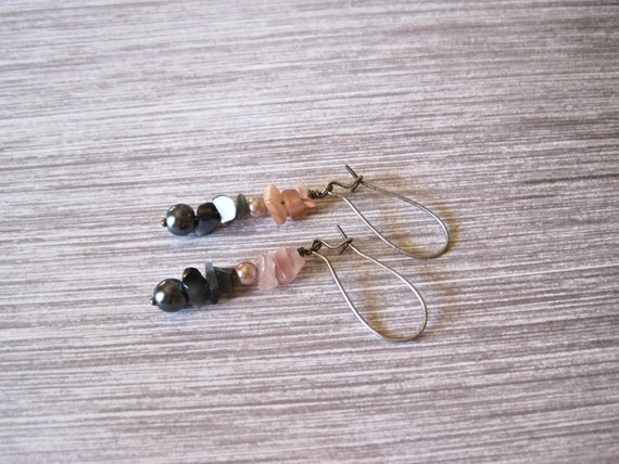 antiqued silver earrings. titanium and rose smoke mother of pearl chips. pink and charcoal glass pearls. shells.