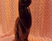"Winking Black Cat 21"" Sculpture - Beautiful - Mysterious - Almost Egyptian Like Cat Perfectly Poised"