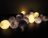 20 Big Cotton Balls Mixed Gray Clound Tone Fairy String Lights Party Patio Wedding Floor Table or Hanging Gift Home Decor Christmas Bedroom