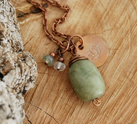 love and purity - heart chakra yoga necklace - yoga jewelry - lotus necklace