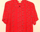 Vintage 80s 90s Red & Black Printed Blouse Shirt Geometric Flowers S M L