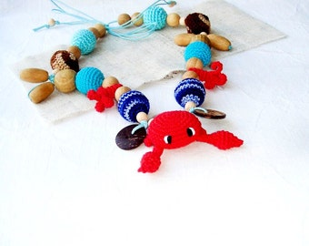 Marine Teething necklace,Toy Crab,Red blue,Crochet Nursing necklace,Breastfeeding necklace,Sea ocean,Babywearing Gift for mom,Teething baby