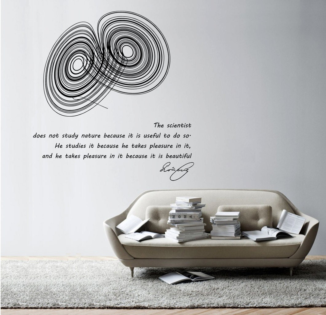 Science Wall Art science art physics poincare quote & lorenz strange attractor