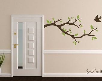 Tree Branch with Bird Vinyl Wall Decal - Sticker Leaves Modern Contemporary Nursery Living Room Decor Bedroom Baby Entry Way Foyer Room