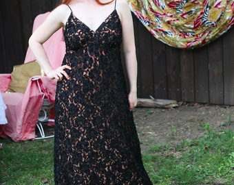 "1970s Black Lace & Nude Illusion Dress by ""Jack Bryan"""