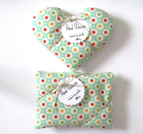 Pocket Hand Warmers - Choice of Hearts or Rectangles mint green with dots