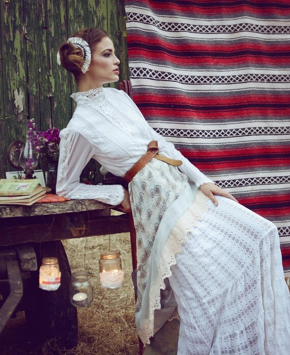 Bohemian Hi Low Georgette skirt with Eyelet lace, Prom skirt, Spring Wedding skirt, Maxi skirt, Romantic skirt, Bohemian skirt