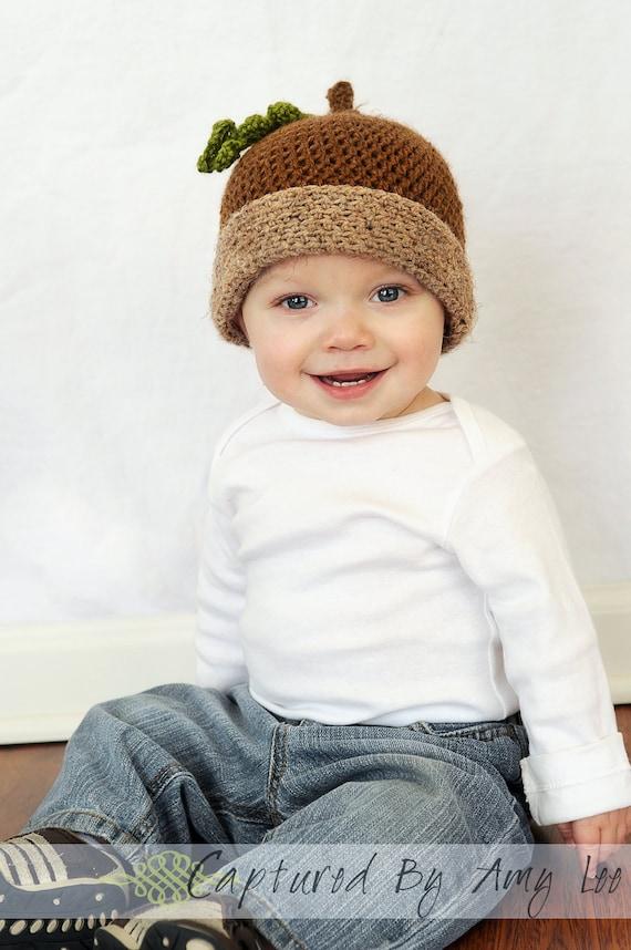 Crochet Baby Acorn hat with leaf- Toddler acorn hat - Acorn hat - Handmade - Photography Prop - Baby girl - Baby Boy - Toddler Boy - Newborn