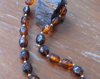Vintage 1970's Amber Lucite and Gold Bead Short Necklace
