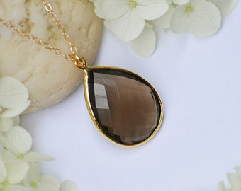 Large Natural Smoky Quartz  Vermeil Gold or Sterling Silver bezel set necklace - Large Gemstone necklace