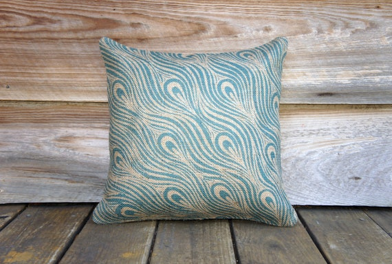 Peacock Pillow Cover, Decorative Throw Pillow, Turquoise Blue, Burlap,  Pattern, Feather, 16x16