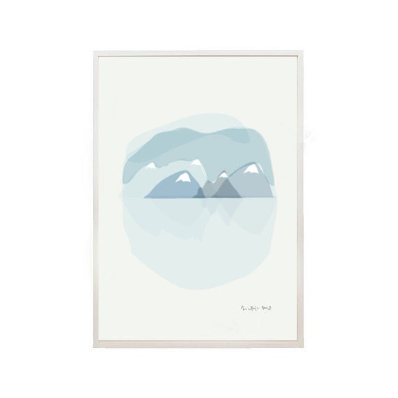 Mountains Print - Mountains Illustration -Misty Mountain- Nature print-Art print by nicemiceforyou