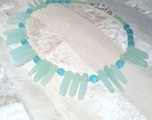 Shimmering Sea Glass Necklace in Frosty Light Blues/Celadon Greens Handmade Jewelry