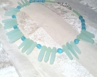 Shimmering Sea Glass Necklace in Frosty Light Blues/Celadon Greens Handmade Jewelry