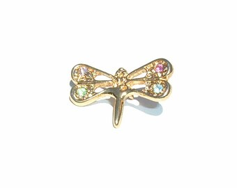 1980s FIREFLY PIN 4 Rhinestones in Lime Green, Candy Cotton Candy, Floral White and Fresh Air Blue colors