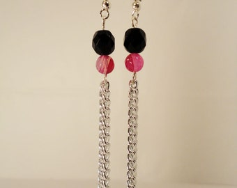 Black Czech Glass and Bright Pink Quartzite Chain Dangle Earrings