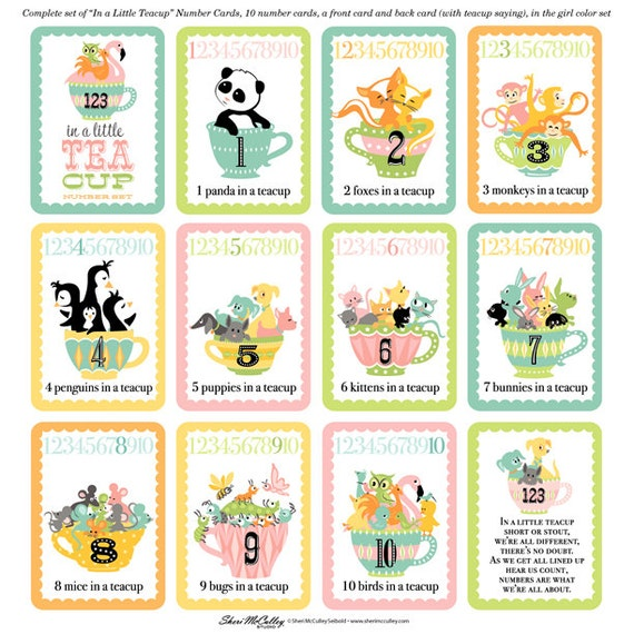 Number Counting Card Set - In a Little Teacup Animal Prints