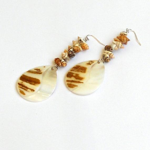 Shell Long Dangle Earrings Summer Beach Teardrop Seashell Beads Resort Cruise Vacation Beaded Dangles Tan Ivory Fashion Jewelry