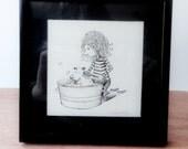 Girl washing dog pen and ink illustration