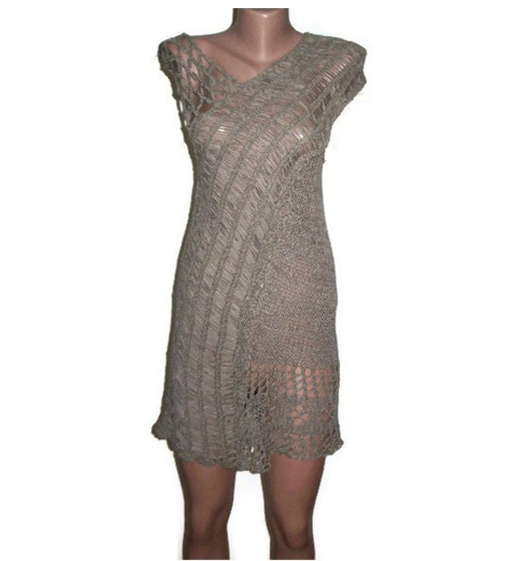 Women Dress Tunic, Freeform, Crochet Dress, Grey Tunic Dress,Fashion, Gift for Her, OOAK