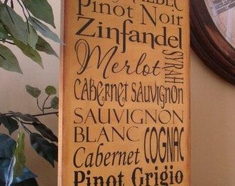 Wine Typography/Subway Primitive Wooden Sign