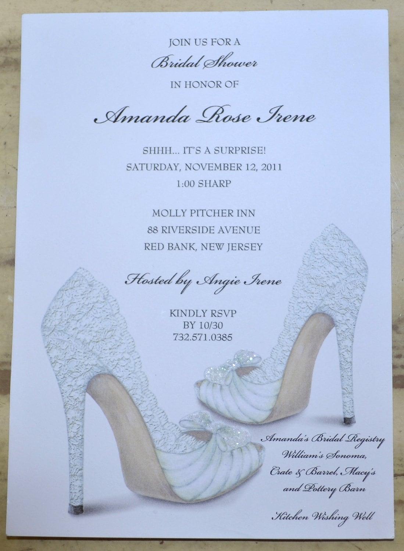 Bridal shower invitations shoe theme bridal shower bridal for Invitations for bridal shower
